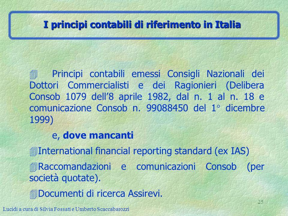 Lucidi a cura di Silvia Fossati e Umberto Scaccabarozzi 25 4Principi contabili emessi Consigli Nazionali dei Dottori Commercialisti e dei Ragionieri (