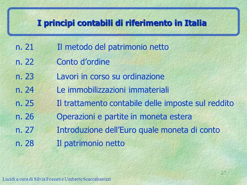Lucidi a cura di Silvia Fossati e Umberto Scaccabarozzi 27 n. 21 Il metodo del patrimonio netto n. 22 Conto dordine n. 23 Lavori in corso su ordinazio