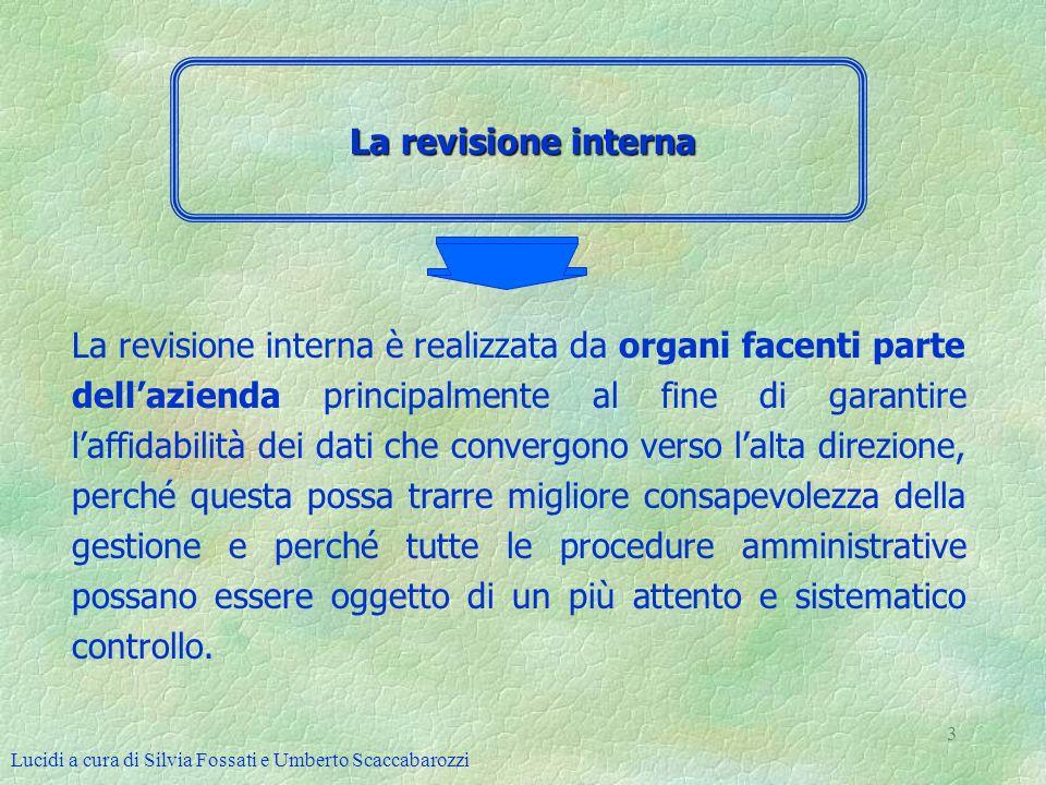 Lucidi a cura di Silvia Fossati e Umberto Scaccabarozzi 3 La revisione interna La revisione interna è realizzata da organi facenti parte dellazienda p
