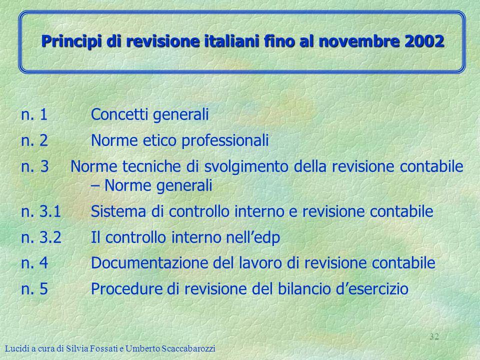 Lucidi a cura di Silvia Fossati e Umberto Scaccabarozzi 32 n. 1 Concetti generali n. 2 Norme etico professionali n. 3 Norme tecniche di svolgimento de