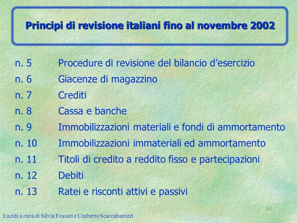Lucidi a cura di Silvia Fossati e Umberto Scaccabarozzi 33 n. 5 Procedure di revisione del bilancio desercizio n. 6 Giacenze di magazzino n. 7 Crediti