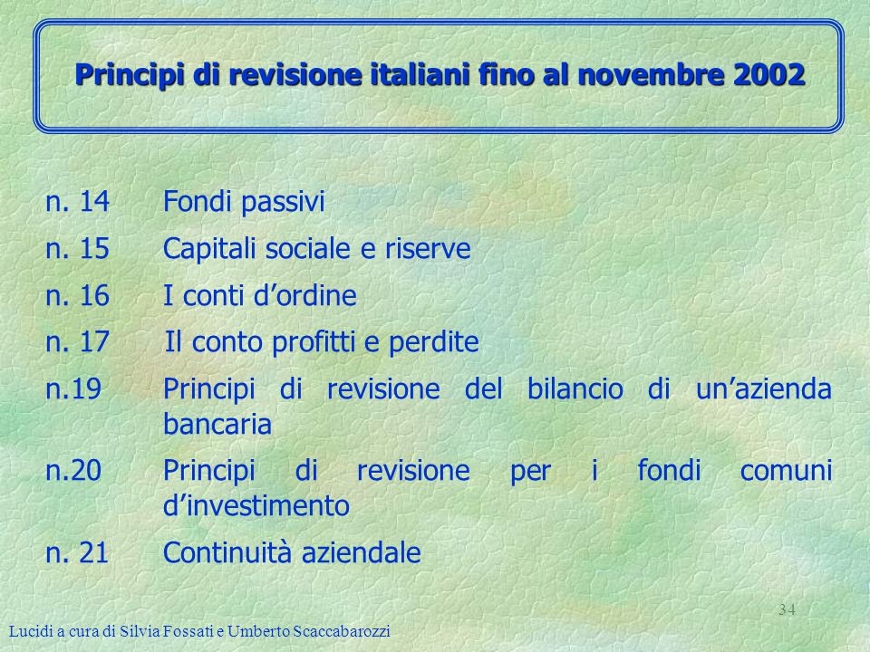 Lucidi a cura di Silvia Fossati e Umberto Scaccabarozzi 34 n. 14 Fondi passivi n. 15 Capitali sociale e riserve n. 16 I conti dordine n. 17 Il conto p