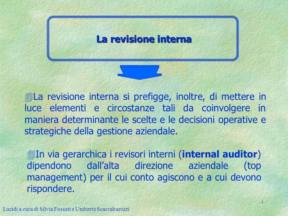 Lucidi a cura di Silvia Fossati e Umberto Scaccabarozzi 5 La revisione esterna 4La revisione esterna è svolta da professionisti e/o società professionali indipendenti dallazienda.