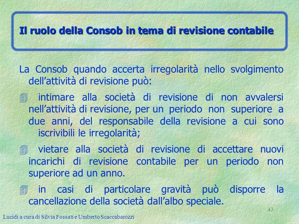 Lucidi a cura di Silvia Fossati e Umberto Scaccabarozzi 43 La Consob quando accerta irregolarità nello svolgimento dellattività di revisione può: 4int