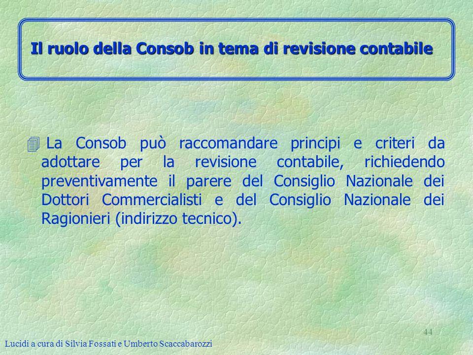 Lucidi a cura di Silvia Fossati e Umberto Scaccabarozzi 44 4 La Consob può raccomandare principi e criteri da adottare per la revisione contabile, ric