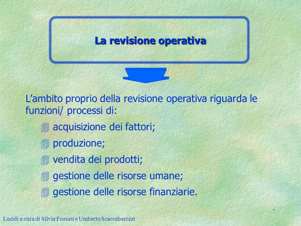 Lucidi a cura di Silvia Fossati e Umberto Scaccabarozzi 7 La revisione operativa Lambito proprio della revisione operativa riguarda le funzioni/ proce