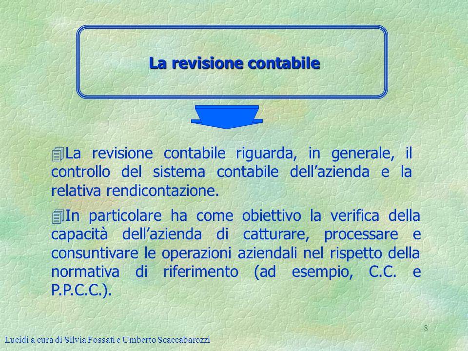 Lucidi a cura di Silvia Fossati e Umberto Scaccabarozzi 8 La revisione contabile 4La revisione contabile riguarda, in generale, il controllo del siste
