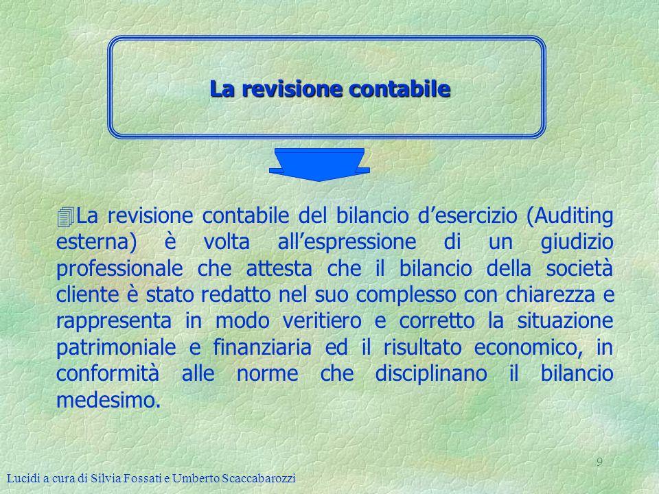 Lucidi a cura di Silvia Fossati e Umberto Scaccabarozzi 9 La revisione contabile 4La revisione contabile del bilancio desercizio (Auditing esterna) è