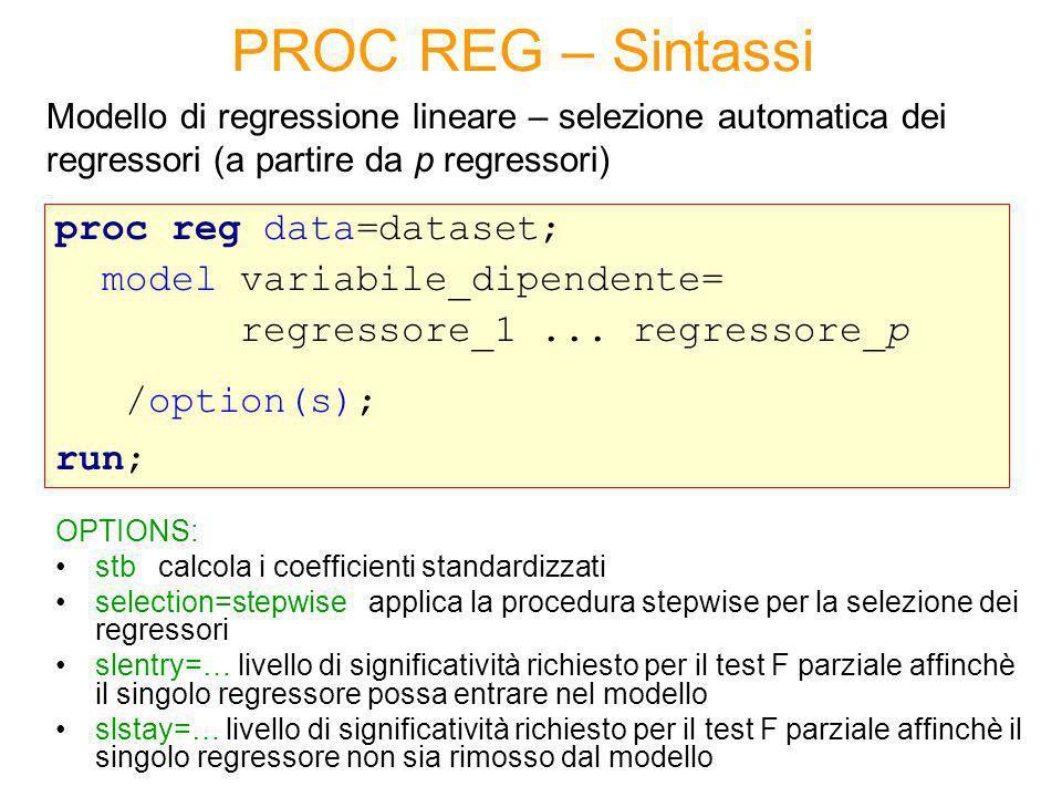 PROC REG – Esempio Variabile dipendente e regressori