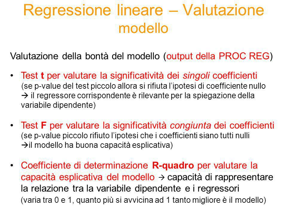 Regressione lineare – Valutazione modello Valutazione della bontà del modello (output della PROC REG) Test t per valutare la significatività dei singo