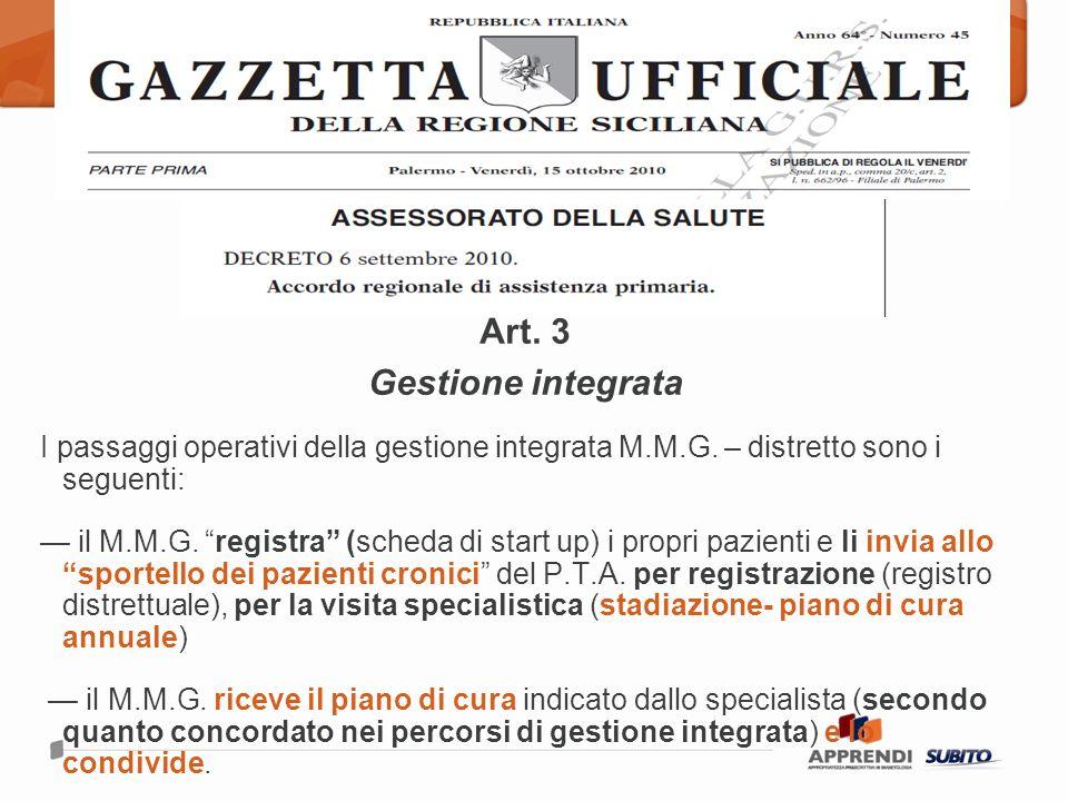 Art.3 Gestione integrata I passaggi operativi della gestione integrata M.M.G.