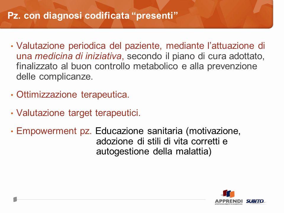 Valutazione periodica del paziente, mediante lattuazione di una medicina di iniziativa, secondo il piano di cura adottato, finalizzato al buon controllo metabolico e alla prevenzione delle complicanze.