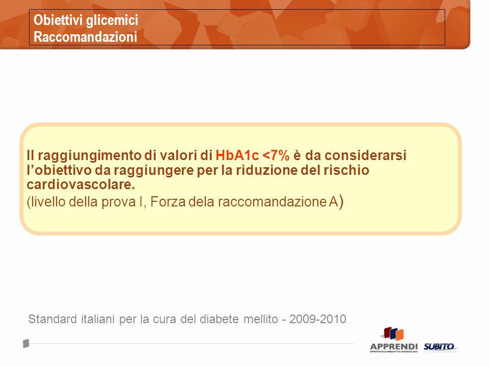 Obiettivi glicemici Raccomandazioni Il raggiungimento di valori di HbA1c <7% è da considerarsi lobiettivo da raggiungere per la riduzione del rischio cardiovascolare.