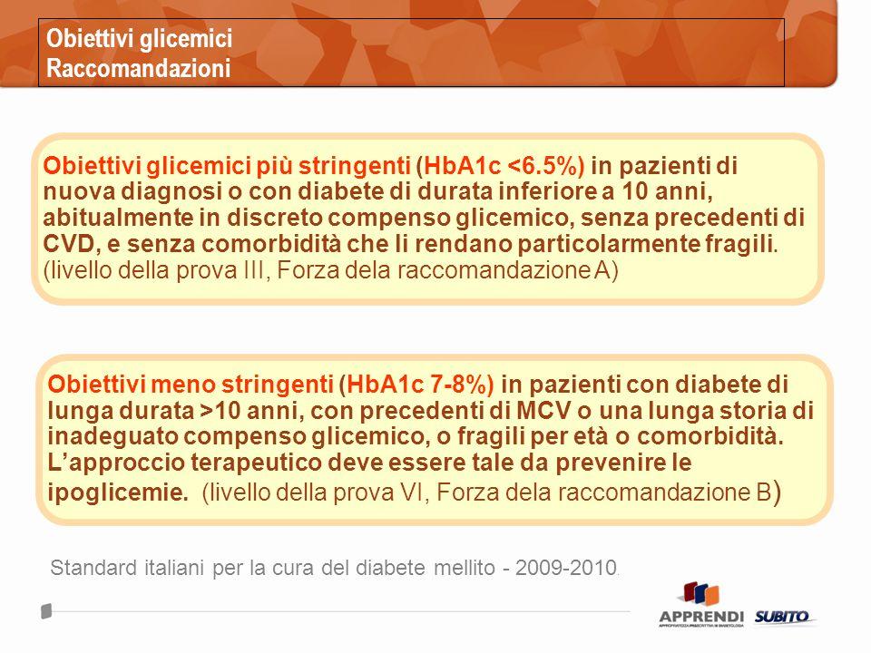 Obiettivi glicemici Raccomandazioni Standard italiani per la cura del diabete mellito - 2009-2010.