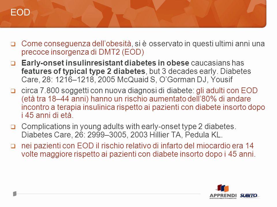 Come conseguenza dellobesità, si è osservato in questi ultimi anni una precoce insorgenza di DMT2 (EOD) Early-onset insulinresistant diabetes in obese caucasians has features of typical type 2 diabetes, but 3 decades early.