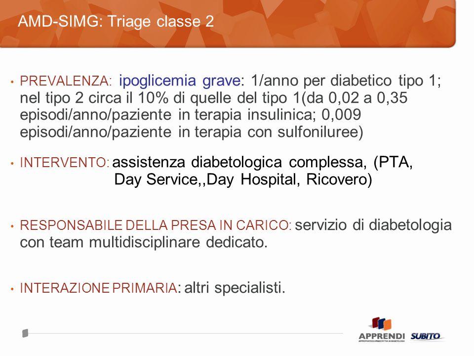 PREVALENZA: ipoglicemia grave: 1/anno per diabetico tipo 1; nel tipo 2 circa il 10% di quelle del tipo 1(da 0,02 a 0,35 episodi/anno/paziente in terapia insulinica; 0,009 episodi/anno/paziente in terapia con sulfoniluree) INTERVENTO: assistenza diabetologica complessa, (PTA, Day Service,,Day Hospital, Ricovero) RESPONSABILE DELLA PRESA IN CARICO: servizio di diabetologia con team multidisciplinare dedicato.