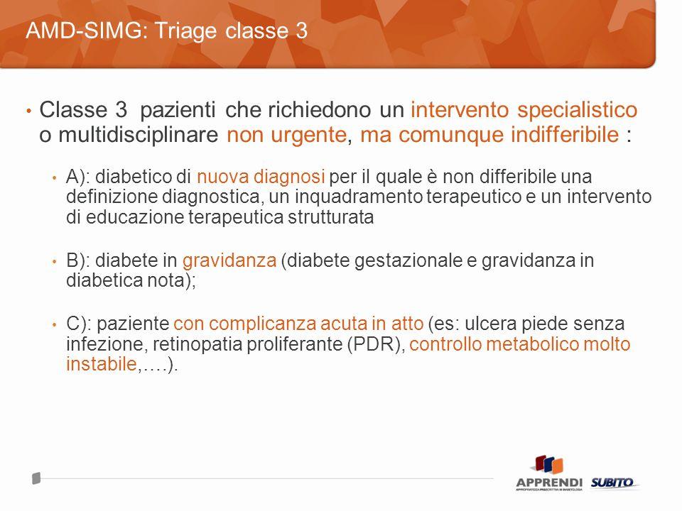 Classe 3 pazienti che richiedono un intervento specialistico o multidisciplinare non urgente, ma comunque indifferibile : A): diabetico di nuova diagnosi per il quale è non differibile una definizione diagnostica, un inquadramento terapeutico e un intervento di educazione terapeutica strutturata B): diabete in gravidanza (diabete gestazionale e gravidanza in diabetica nota); C): paziente con complicanza acuta in atto (es: ulcera piede senza infezione, retinopatia proliferante (PDR), controllo metabolico molto instabile,….).