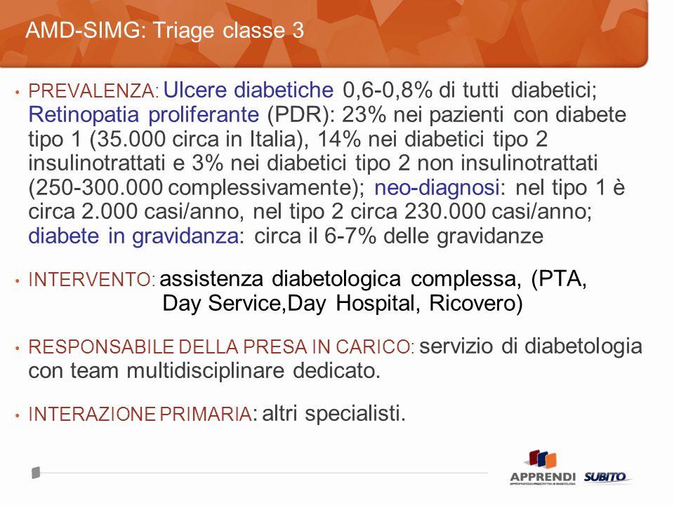 PREVALENZA: Ulcere diabetiche 0,6-0,8% di tutti diabetici; Retinopatia proliferante (PDR): 23% nei pazienti con diabete tipo 1 (35.000 circa in Italia), 14% nei diabetici tipo 2 insulinotrattati e 3% nei diabetici tipo 2 non insulinotrattati (250-300.000 complessivamente); neo-diagnosi: nel tipo 1 è circa 2.000 casi/anno, nel tipo 2 circa 230.000 casi/anno; diabete in gravidanza: circa il 6-7% delle gravidanze INTERVENTO: assistenza diabetologica complessa, (PTA, Day Service,Day Hospital, Ricovero) RESPONSABILE DELLA PRESA IN CARICO: servizio di diabetologia con team multidisciplinare dedicato.
