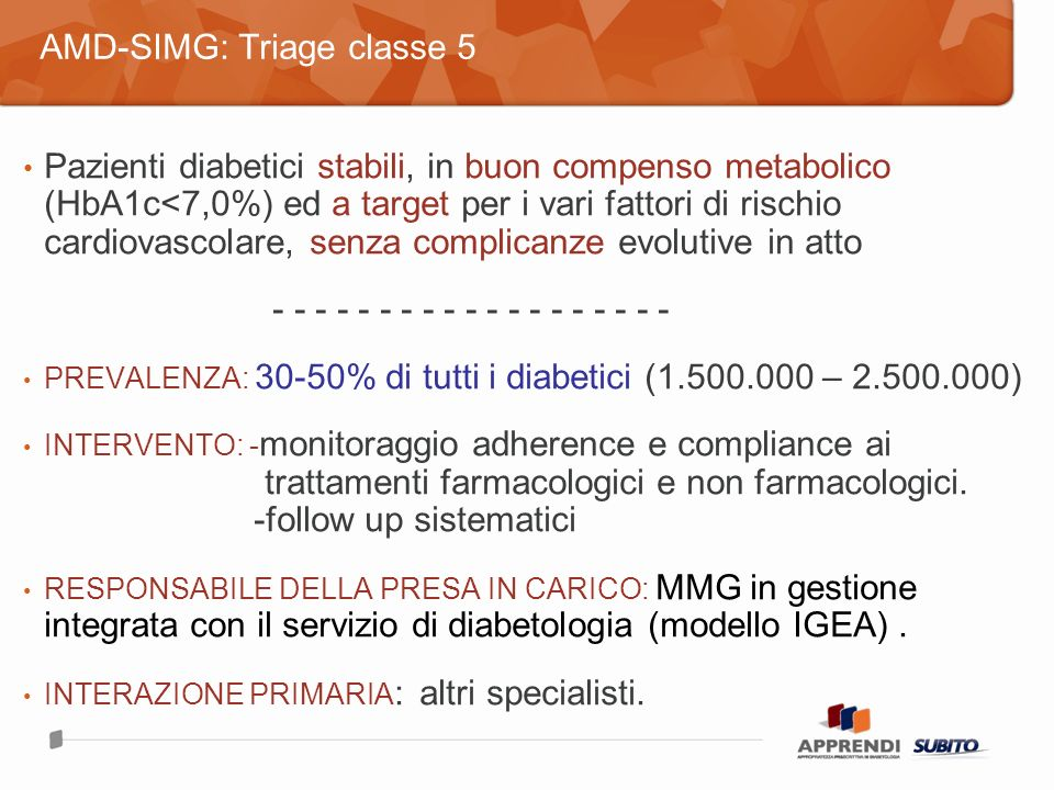 Pazienti diabetici stabili, in buon compenso metabolico (HbA1c<7,0%) ed a target per i vari fattori di rischio cardiovascolare, senza complicanze evolutive in atto - - - - - - - - - - - - - - - - - - - PREVALENZA: 30-50% di tutti i diabetici (1.500.000 – 2.500.000) INTERVENTO: - monitoraggio adherence e compliance ai trattamenti farmacologici e non farmacologici.