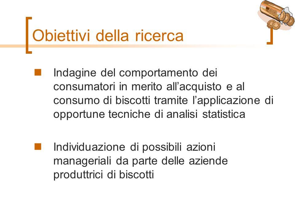 Obiettivi della ricerca Indagine del comportamento dei consumatori in merito allacquisto e al consumo di biscotti tramite lapplicazione di opportune tecniche di analisi statistica Individuazione di possibili azioni manageriali da parte delle aziende produttrici di biscotti