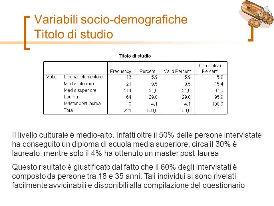 Variabili socio-demografiche Titolo di studio Il livello culturale è medio-alto.