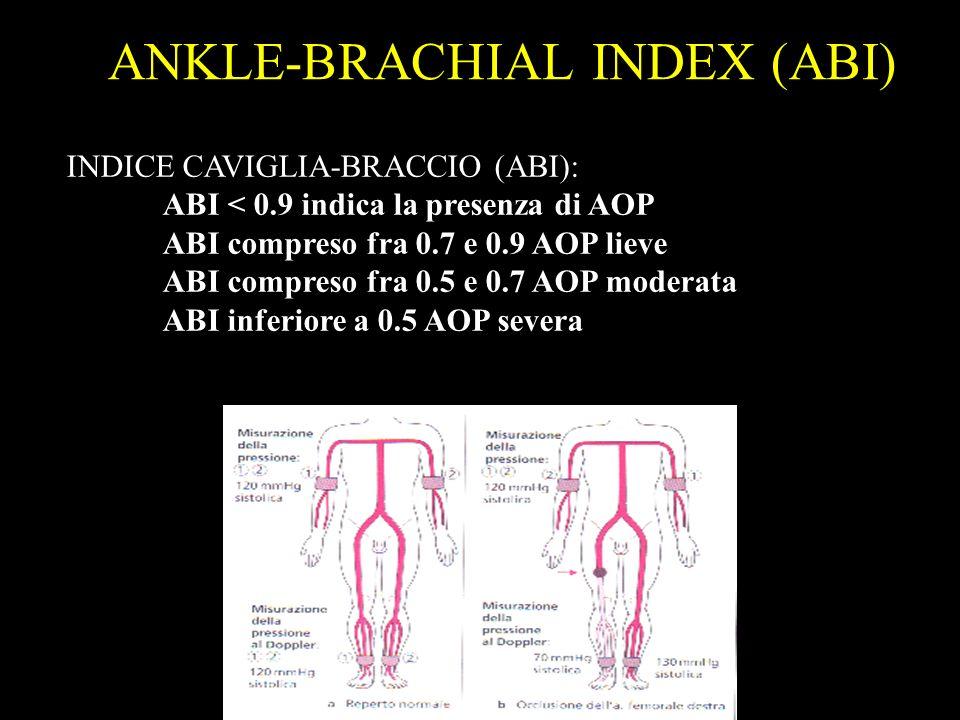 INDICE DI WINSOR (ABI) La misurazione dellindice caviglia-braccio (ABI) permette di valutare sia la gravità dellarteriopatia in esame sia di confronta