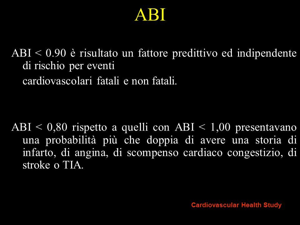ANKLE-BRACHIAL INDEX (ABI) INDICE CAVIGLIA-BRACCIO (ABI): ABI < 0.9 indica la presenza di AOP ABI compreso fra 0.7 e 0.9 AOP lieve ABI compreso fra 0.