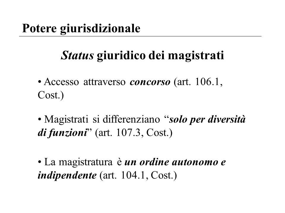 Potere giurisdizionale Status giuridico dei magistrati Accesso attraverso concorso (art. 106.1, Cost.) Magistrati si differenziano solo per diversità