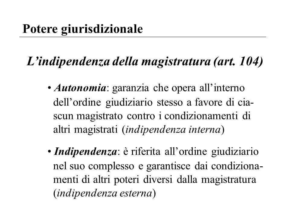 Potere giurisdizionale Lindipendenza della magistratura (art. 104) Autonomia: garanzia che opera allinterno dellordine giudiziario stesso a favore di