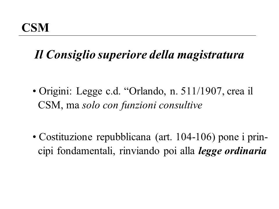 CSM Il Consiglio superiore della magistratura Origini: Legge c.d. Orlando, n. 511/1907, crea il CSM, ma solo con funzioni consultive Costituzione repu