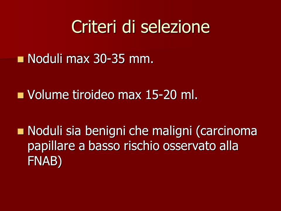 Criteri di selezione Noduli max 30-35 mm. Noduli max 30-35 mm. Volume tiroideo max 15-20 ml. Volume tiroideo max 15-20 ml. Noduli sia benigni che mali