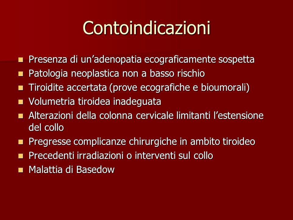 Contoindicazioni Presenza di unadenopatia ecograficamente sospetta Presenza di unadenopatia ecograficamente sospetta Patologia neoplastica non a basso