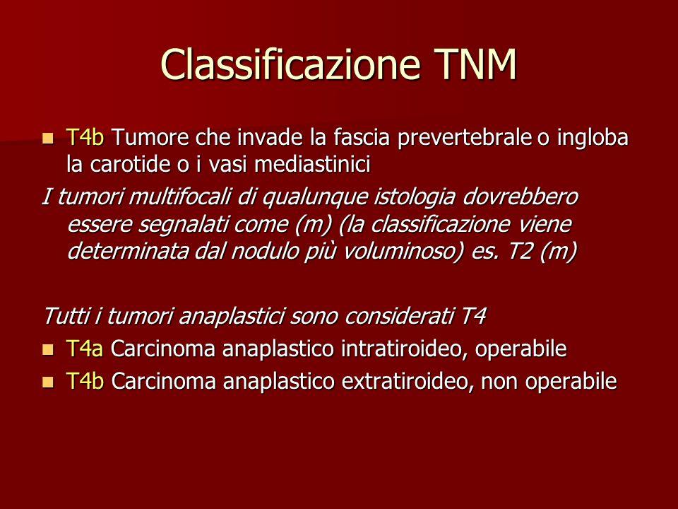Classificazione TNM T4b Tumore che invade la fascia prevertebrale o ingloba la carotide o i vasi mediastinici T4b Tumore che invade la fascia preverte