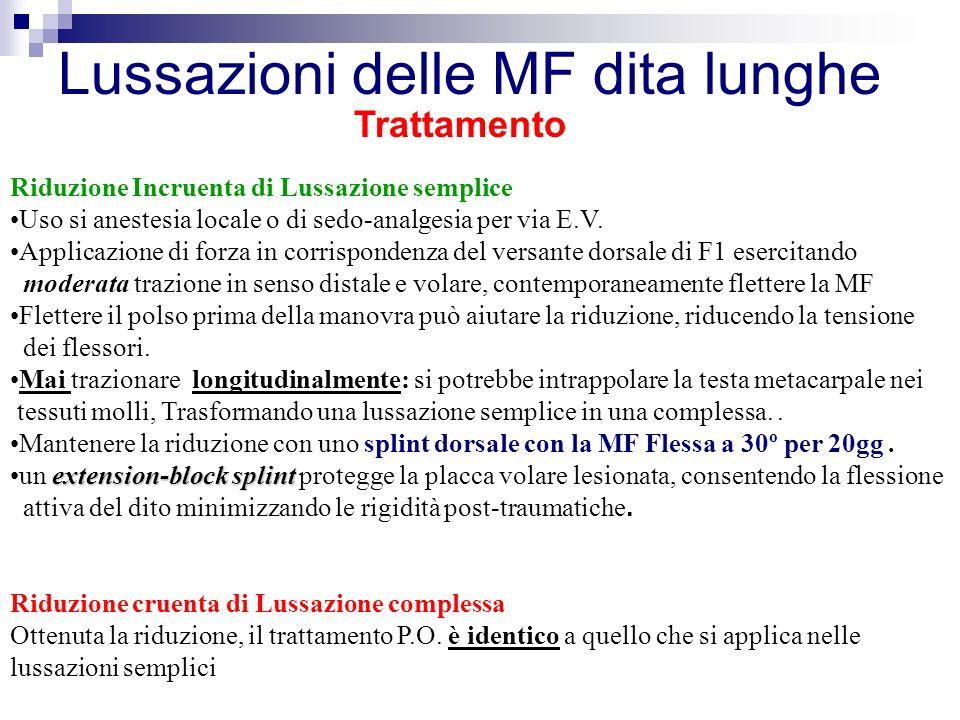 Trattamento Riduzione Incruenta di Lussazione semplice Uso si anestesia locale o di sedo-analgesia per via E.V.
