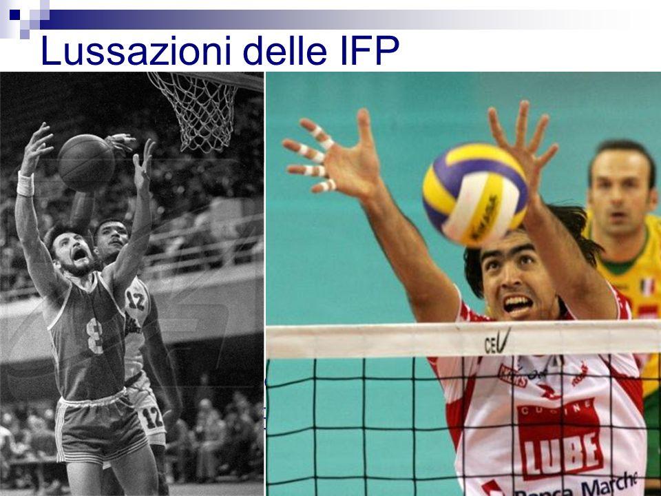 Dorsali Laterali (instabilità legamentosa) Volari (rare) Lussazioni delle IFP Il meccanismo più comune è liperestensione combinata ad una compressione longitudinale, tipica degli Ball-Handling Sports