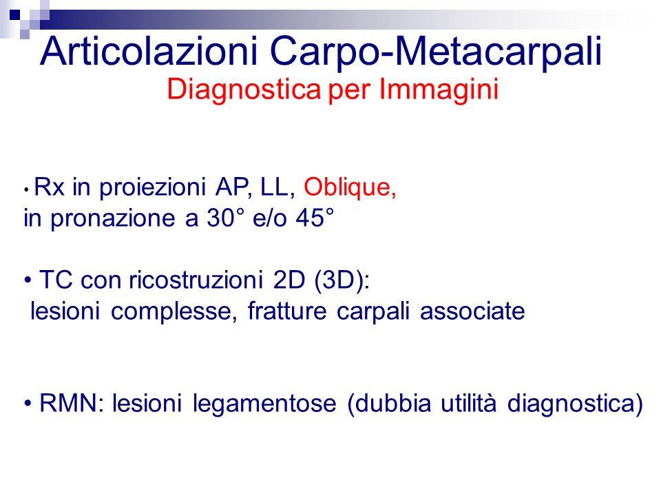 Articolazioni Carpo-Metacarpali Diagnostica per Immagini Rx in proiezioni AP, LL, Oblique, in pronazione a 30° e/o 45° TC con ricostruzioni 2D (3D): lesioni complesse, fratture carpali associate RMN: lesioni legamentose (dubbia utilità diagnostica)