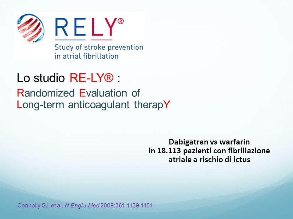 Dabigatran vs warfarin in 18.113 pazienti con fibrillazione atriale a rischio di ictus Connolly SJ, et al. N Engl J Med 2009;361:1139-1151. Lo studio