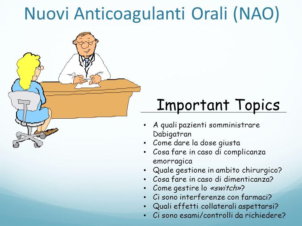 A quali pazienti somministrare Dabigatran Come dare la dose giusta Cosa fare in caso di complicanza emorragica Quale gestione in ambito chirurgico? Co