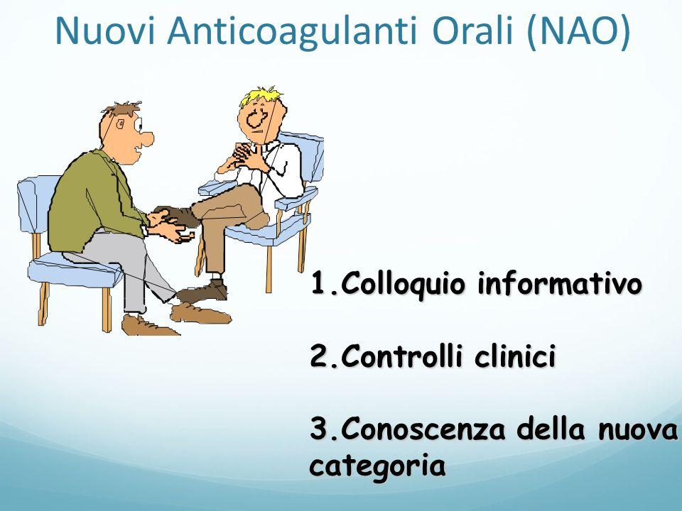 1.Colloquio informativo 2.Controlli clinici 3.Conoscenza della nuova categoria Nuovi Anticoagulanti Orali (NAO)