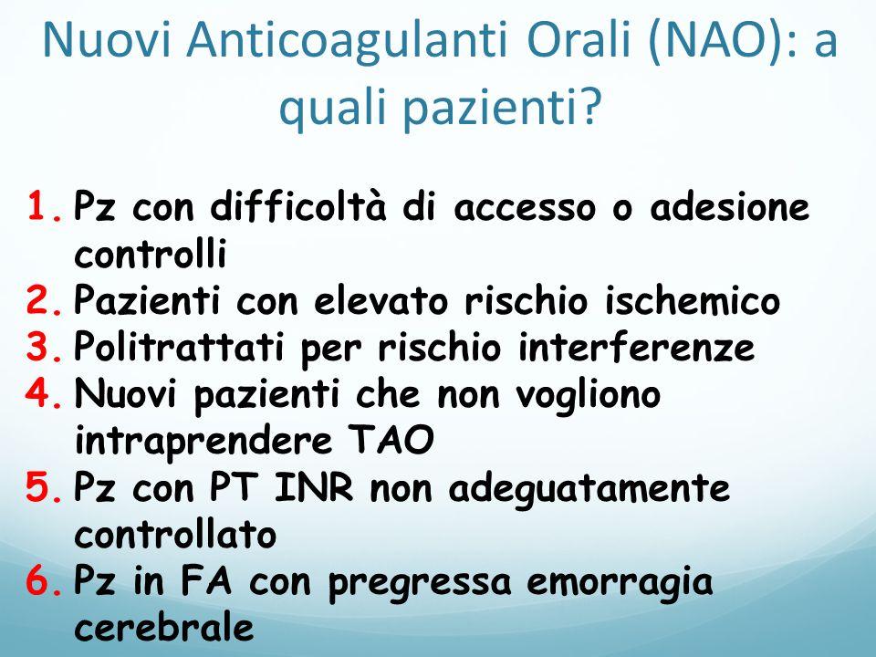 Nuovi Anticoagulanti Orali (NAO): a quali pazienti? 1.Pz con difficoltà di accesso o adesione controlli 2.Pazienti con elevato rischio ischemico 3.Pol