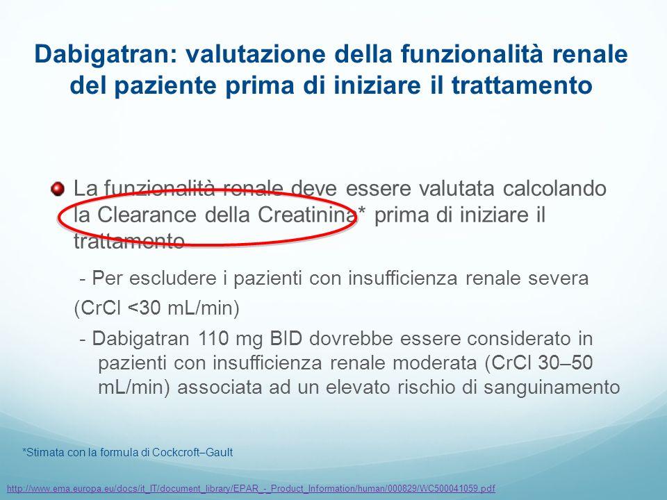 La funzionalità renale deve essere valutata calcolando la Clearance della Creatinina* prima di iniziare il trattamento - Per escludere i pazienti con