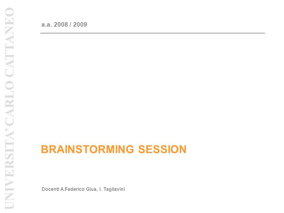 BRAINSTORMING SESSION a.a. 2008 / 2009 DocentI A.Federico Giua, I.