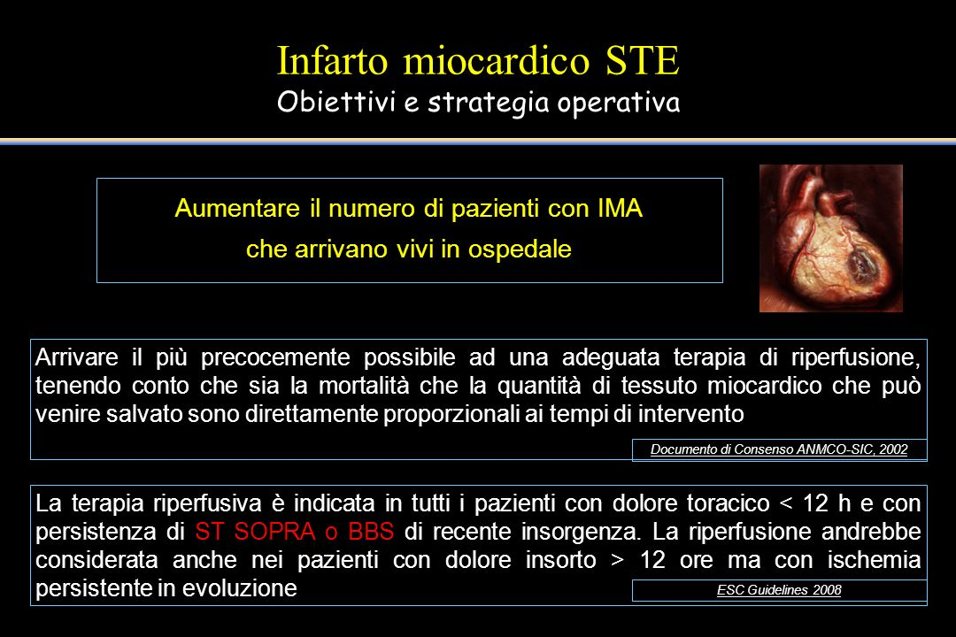 Infarto miocardico STE Obiettivi e strategia operativa Aumentare il numero di pazienti con IMA che arrivano vivi in ospedale Arrivare il più precoceme