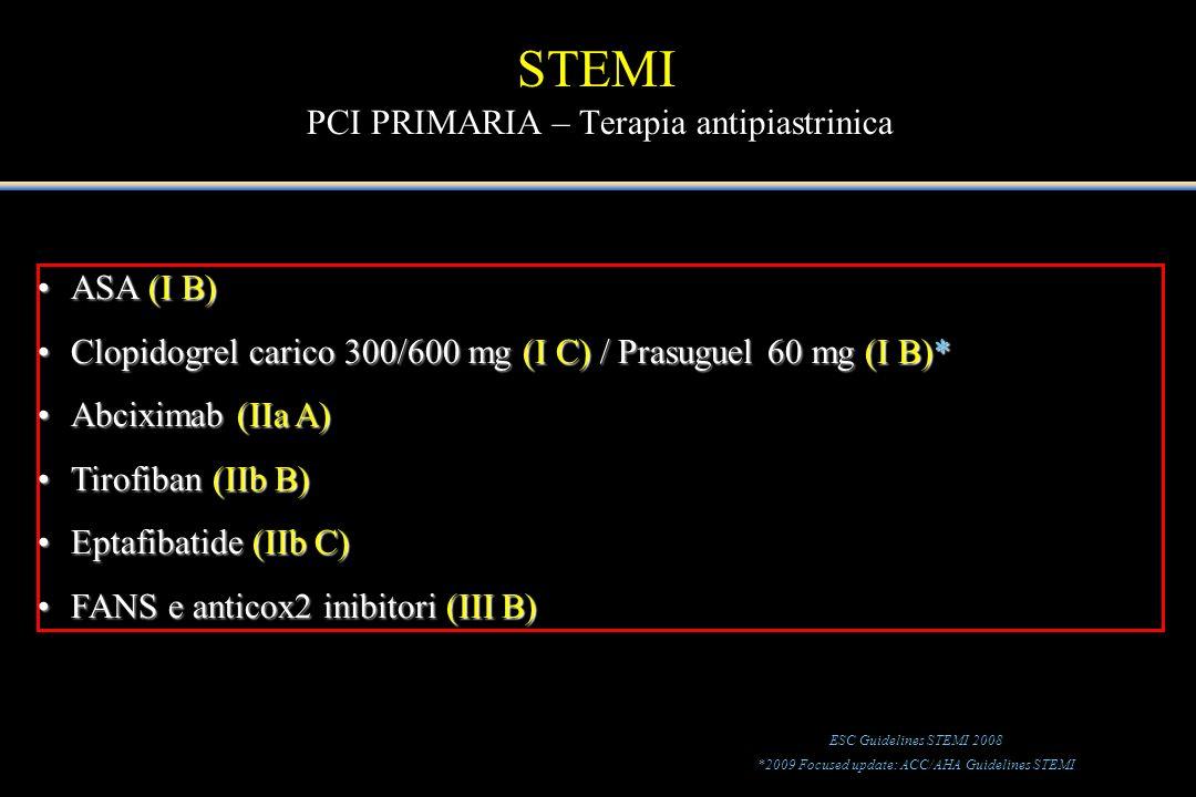 ASA (I B)ASA (I B) Clopidogrel carico 300/600 mg (I C) / Prasuguel 60 mg (I B)*Clopidogrel carico 300/600 mg (I C) / Prasuguel 60 mg (I B)* Abciximab
