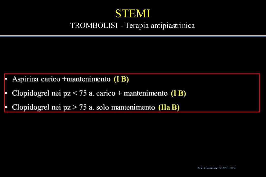 STEMI TROMBOLISI - Terapia antipiastrinica Aspirina carico +mantenimento (I B)Aspirina carico +mantenimento (I B) Clopidogrel nei pz < 75 a. carico +