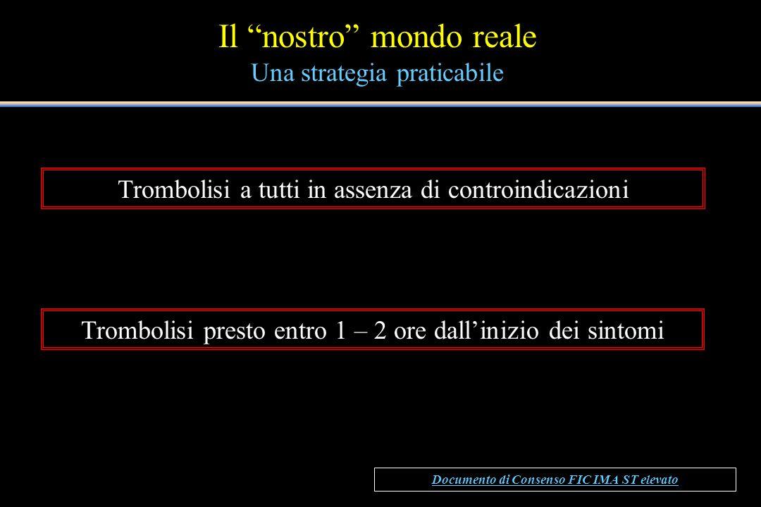 Il nostro mondo reale Una strategia praticabile Trombolisi a tutti in assenza di controindicazioni Documento di Consenso FIC IMA ST elevato Trombolisi