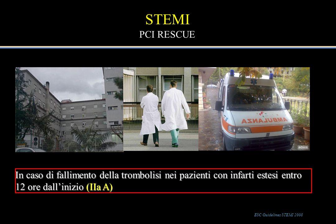In caso di fallimento della trombolisi nei pazienti con infarti estesi entro 12 ore dallinizio (IIa A) STEMI PCI RESCUE ESC Guidelines STEMI 2008