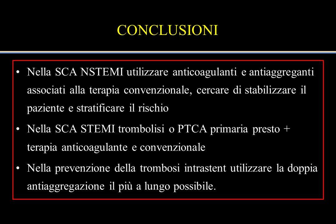 CONCLUSIONI Nella SCA NSTEMI utilizzare anticoagulanti e antiaggreganti associati alla terapia convenzionale, cercare di stabilizzare il paziente e st