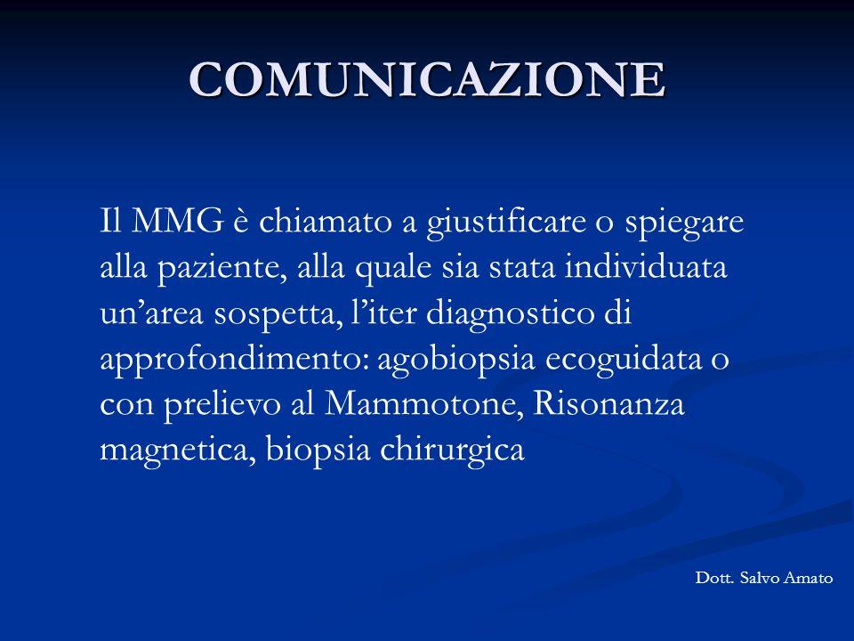 COMUNICAZIONE Dott. Salvo Amato Il MMG è chiamato a giustificare o spiegare alla paziente, alla quale sia stata individuata unarea sospetta, liter dia