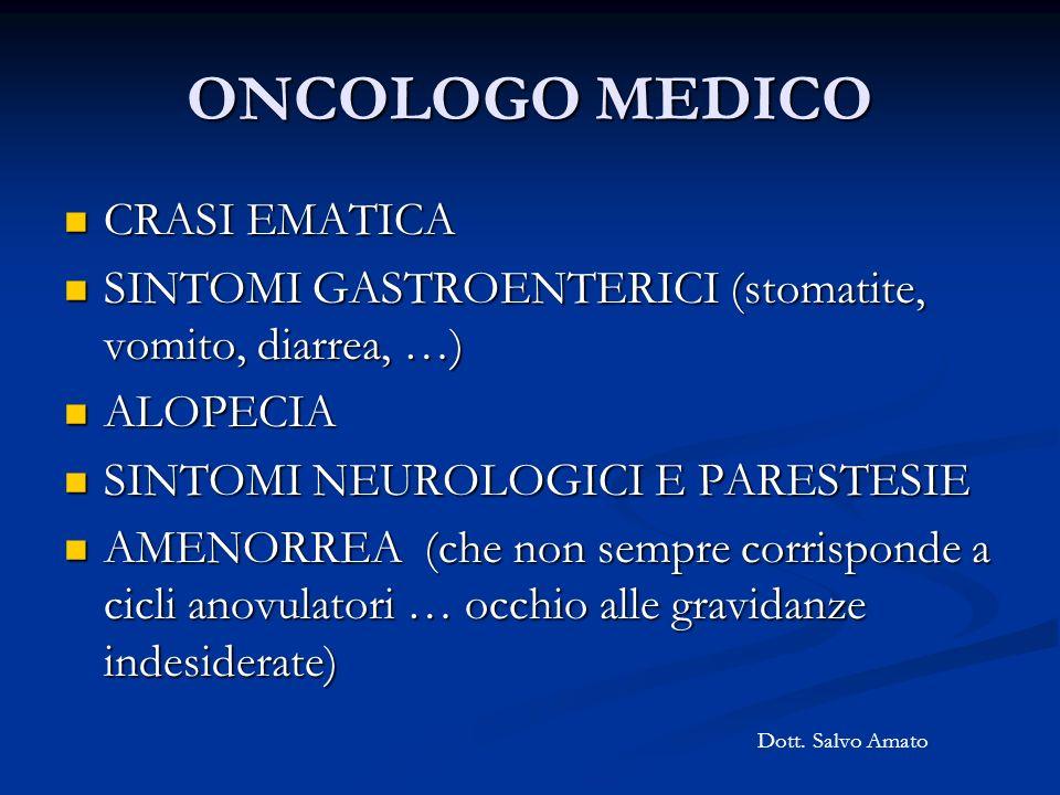 ONCOLOGO MEDICO CRASI EMATICA CRASI EMATICA SINTOMI GASTROENTERICI (stomatite, vomito, diarrea, …) SINTOMI GASTROENTERICI (stomatite, vomito, diarrea,